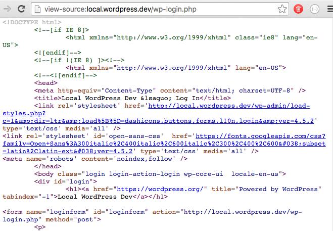 Inspección del código fuente de wp-login.php.