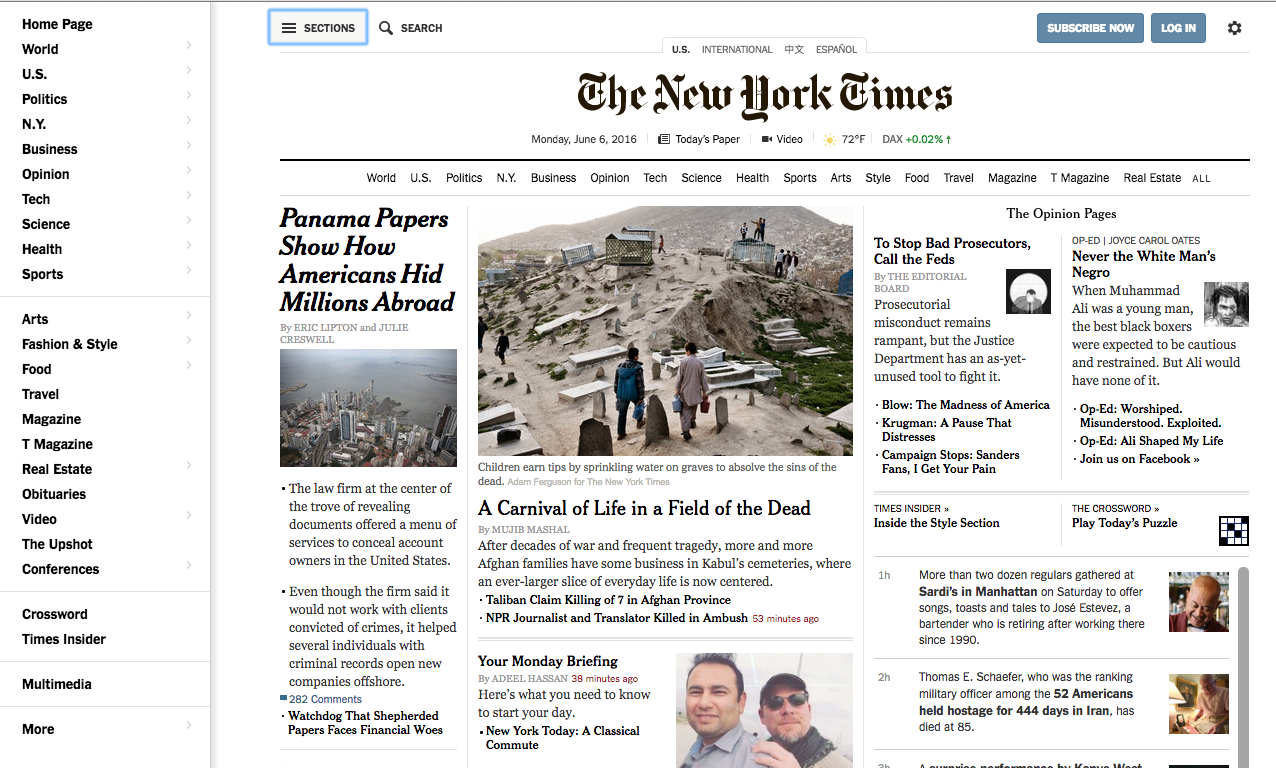 Captura de pantalla del The New York Times