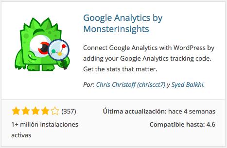 Plugin Google Analytics by MonsterInsights