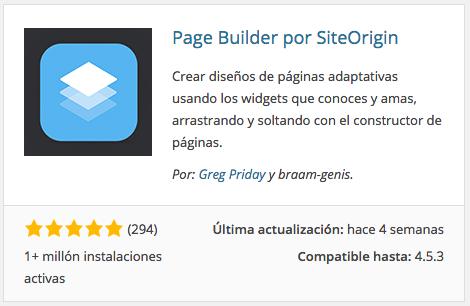 Plugin Page Builder for SiteOrigin
