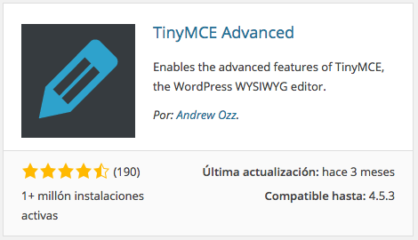 Plugin TinyMCE Advanced
