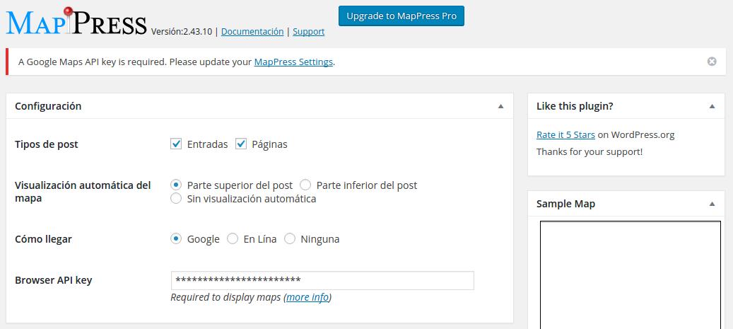 Ajustes de MapPress