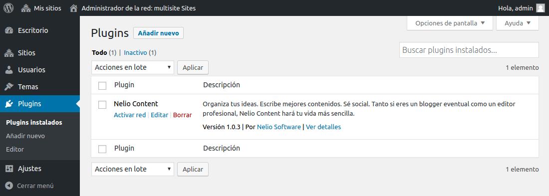 WordPress Multisitio - Gestión de Plugins