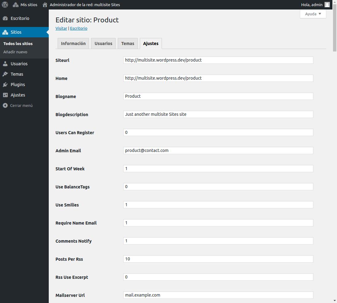 WordPress Multisitio - Configuración de un sitio desde el escritorio de la red
