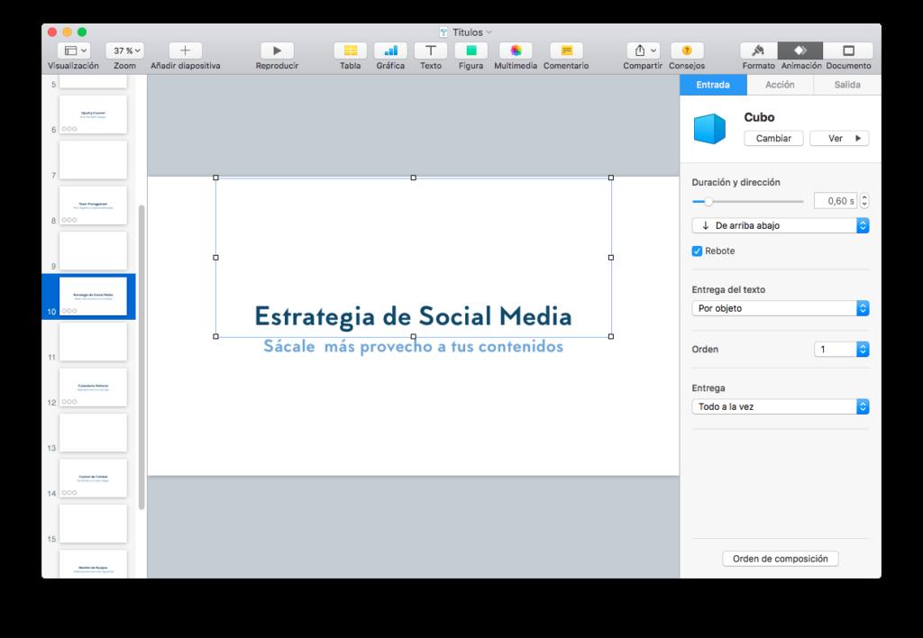 Títulos del vídeo utilizando Keynote para Mac OS X.