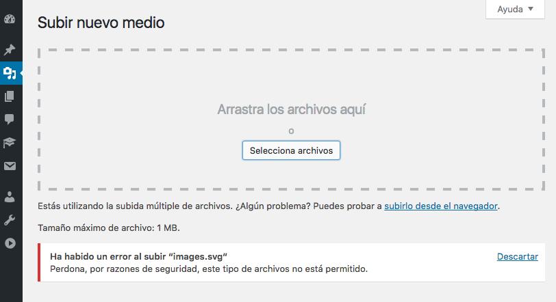 Cuando intentas subir una imagen .SVG a WordPress pasa esto.