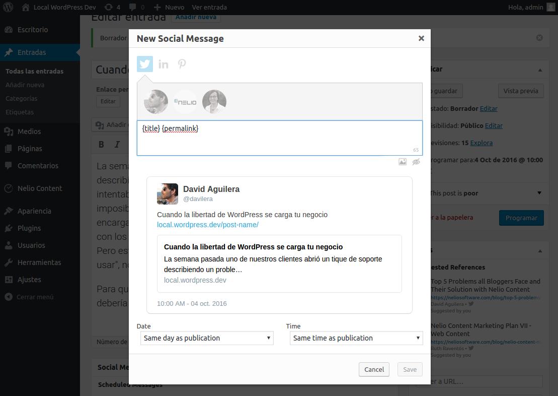 Diálogo para añadir nuevos mensajes sociales