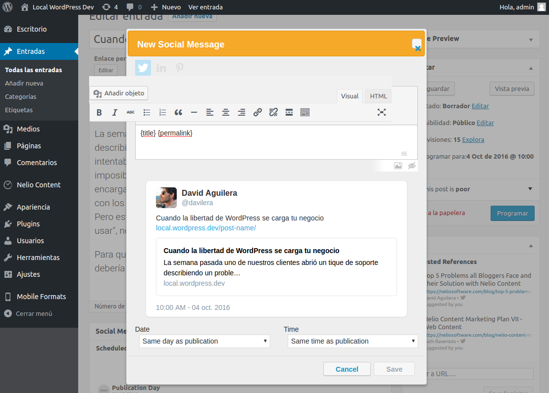 Diálogo de creación de mensajes sociales roto por culpa de CSS incorrectos