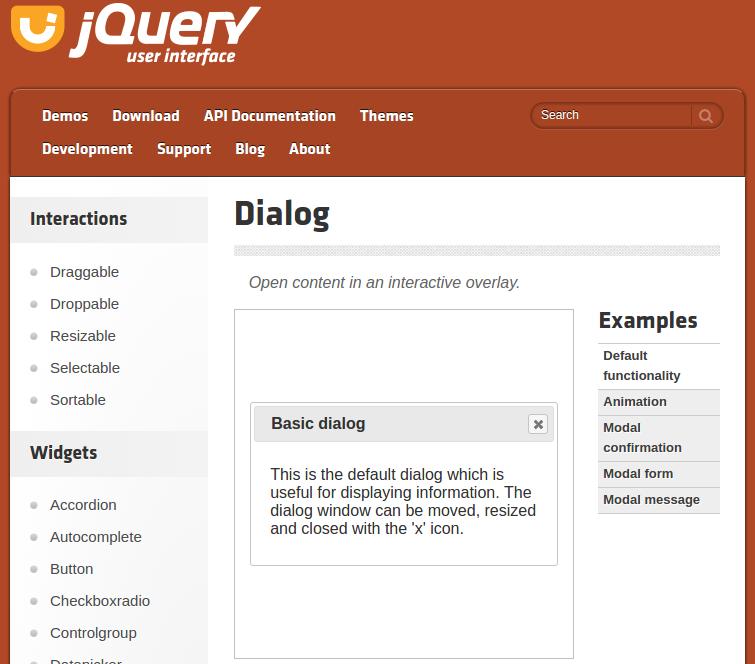 Captura de pantalla de la página de jQuery UI