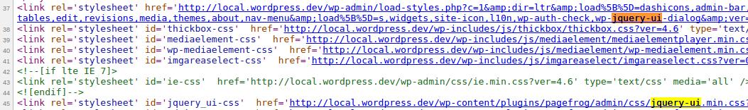 Captura de pantalla de algunos scripts en la cabecera de un documento HTML