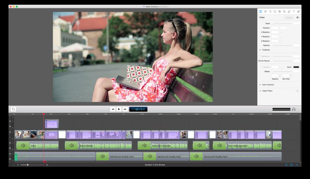 Captura de Screenflow incluyendo las pistas de audio.