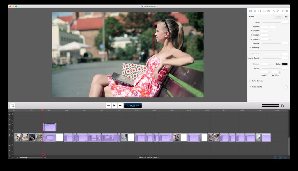 Captura de Screenflow con todo el vídeo montado.