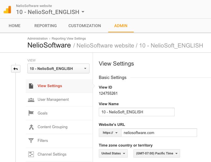 Configuración de la Vista de Nelio Software en inglés en Google Analytics con zona horaria del pacífico de Estados Unidos