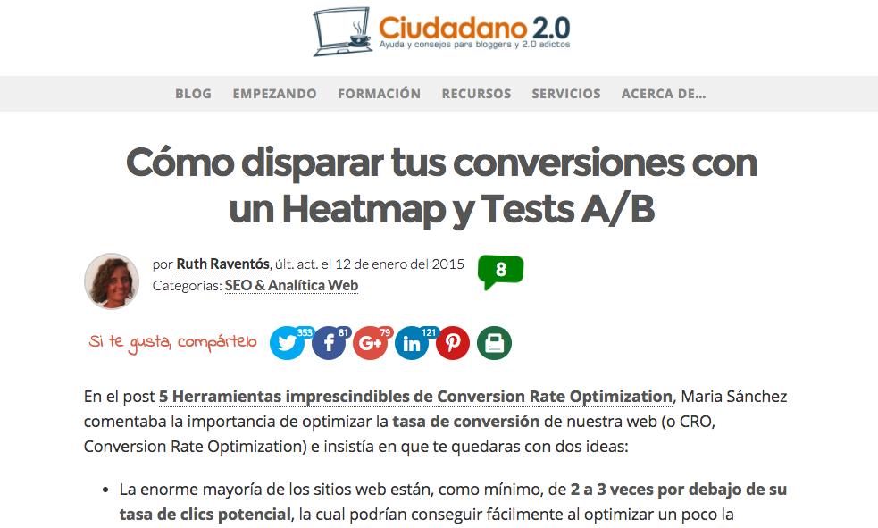 Post invitado de Ruth en la web de Ciudadano 2.0 hablando sobre tests A/B en WordPress.