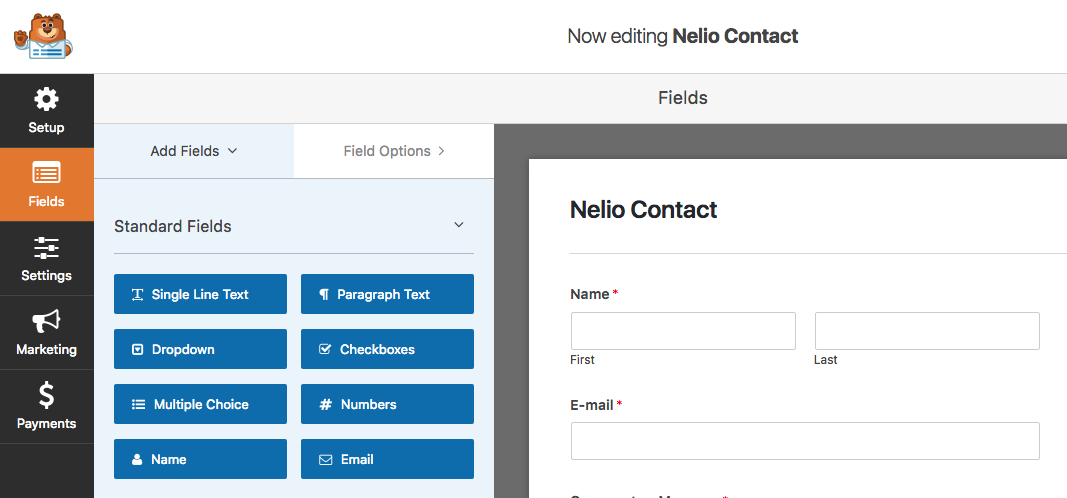Creación de un formulario con WPForms Lite