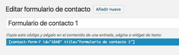 Shortcode del formulario de contacto