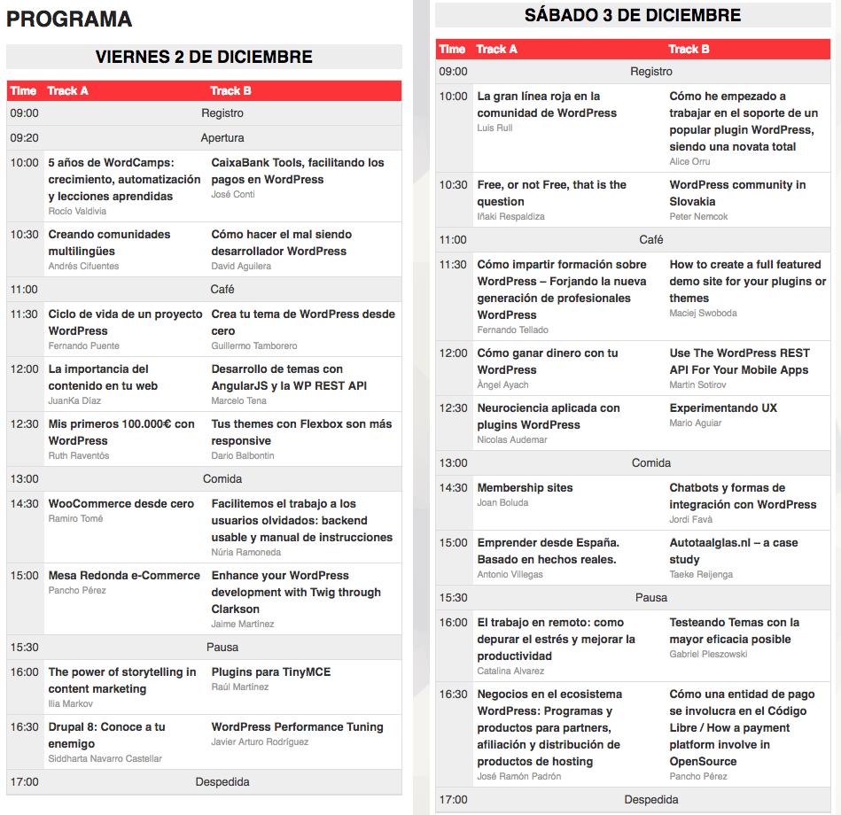 Programa de la WordCamp Barcelona 2016