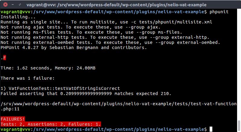Test fallido en PHPUnit