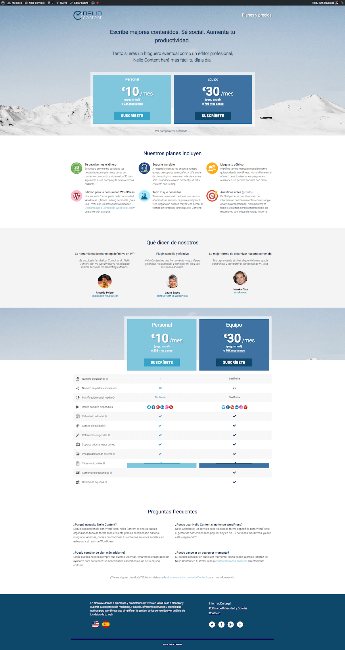 Captura de pantalla de pagina de Planes y precios de Nelio Content