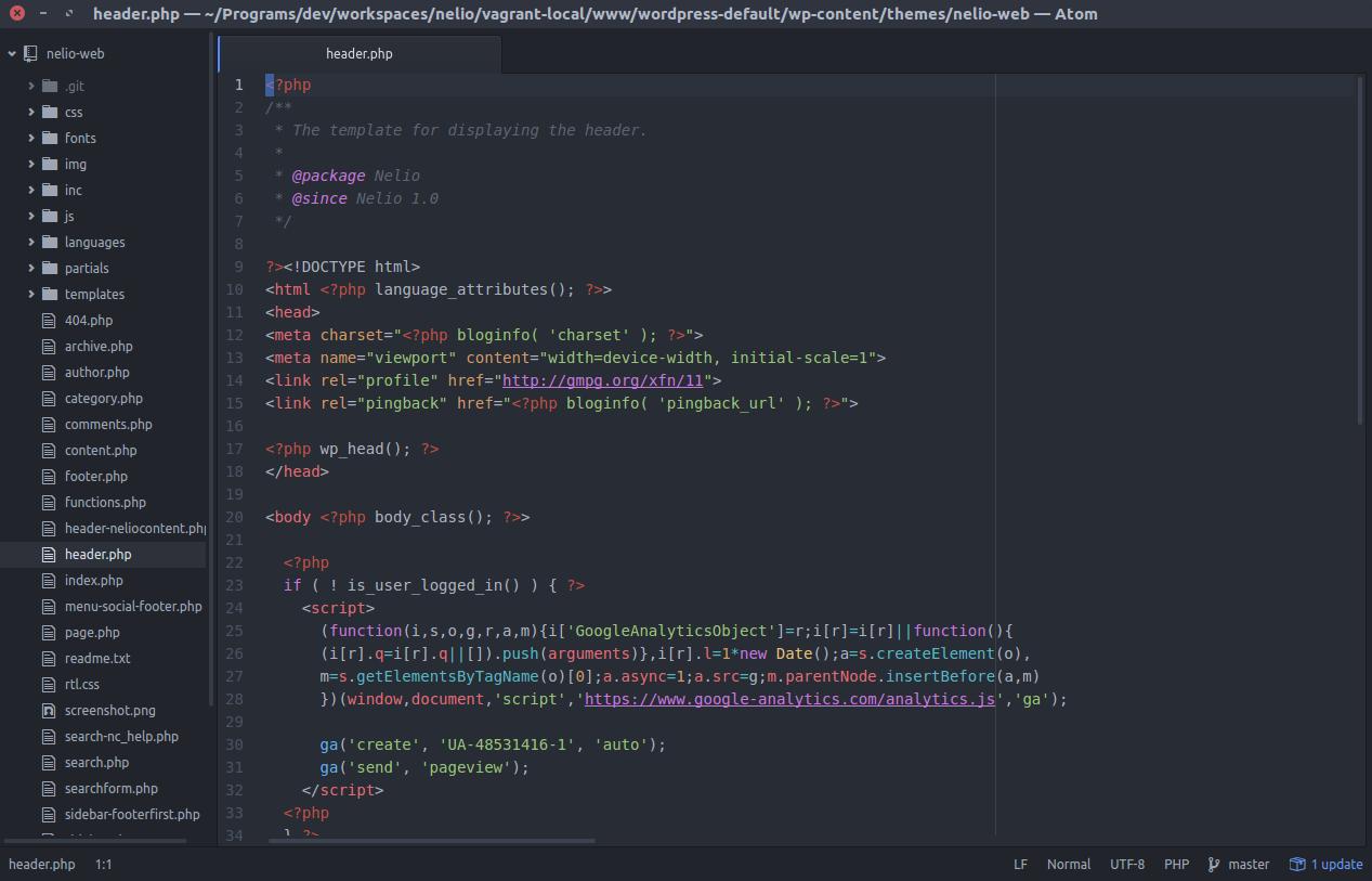 Captura de pantalla de Atom