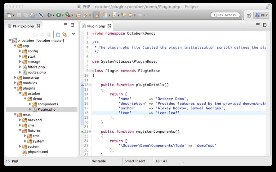 Eclipse con la extensión PHP Development Tools instalada.