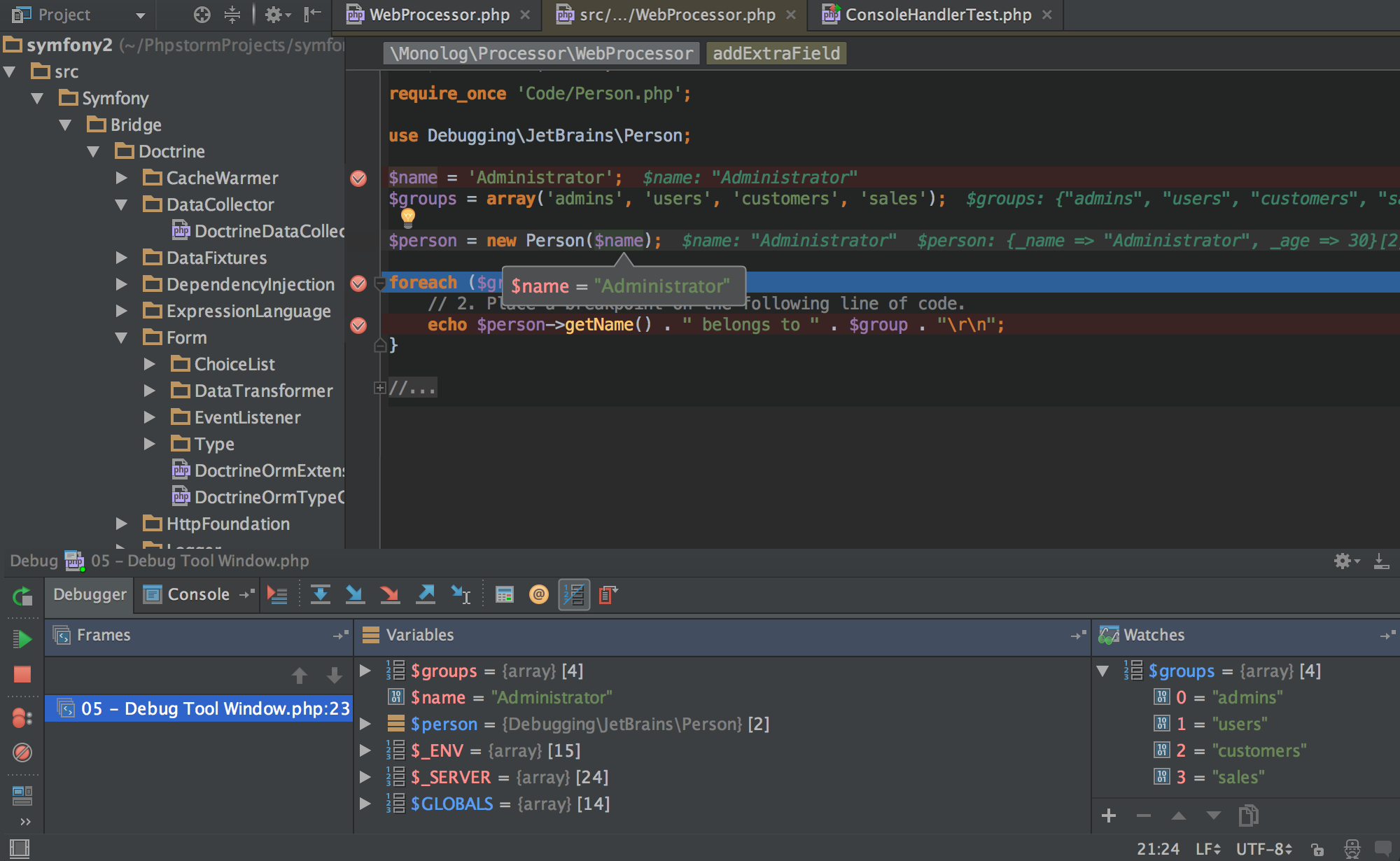 Captura de PHPStorm