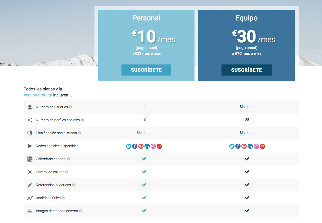 Captura de pantalla de Nelio Content precios