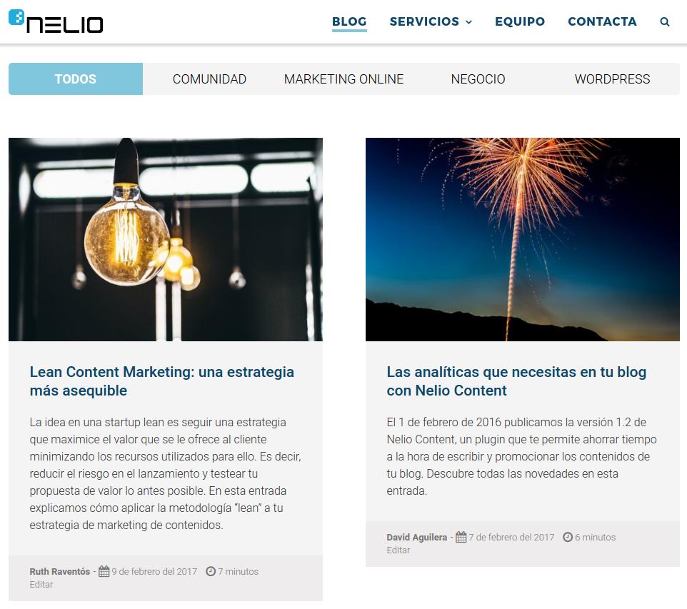 Captura de pantalla del blog de Nelio