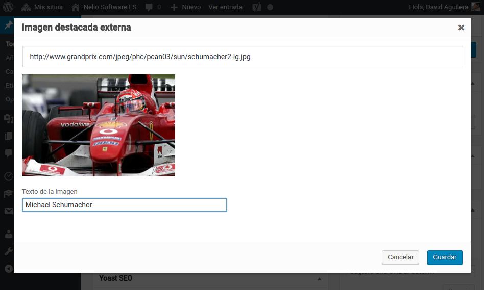 Captura de pantalla para añadir imágenes externas