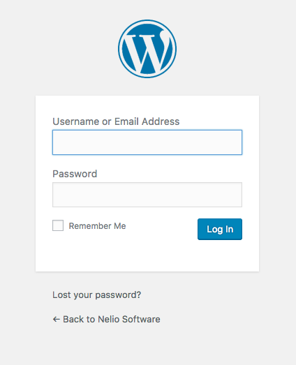 Pantalla de login de WordPress.