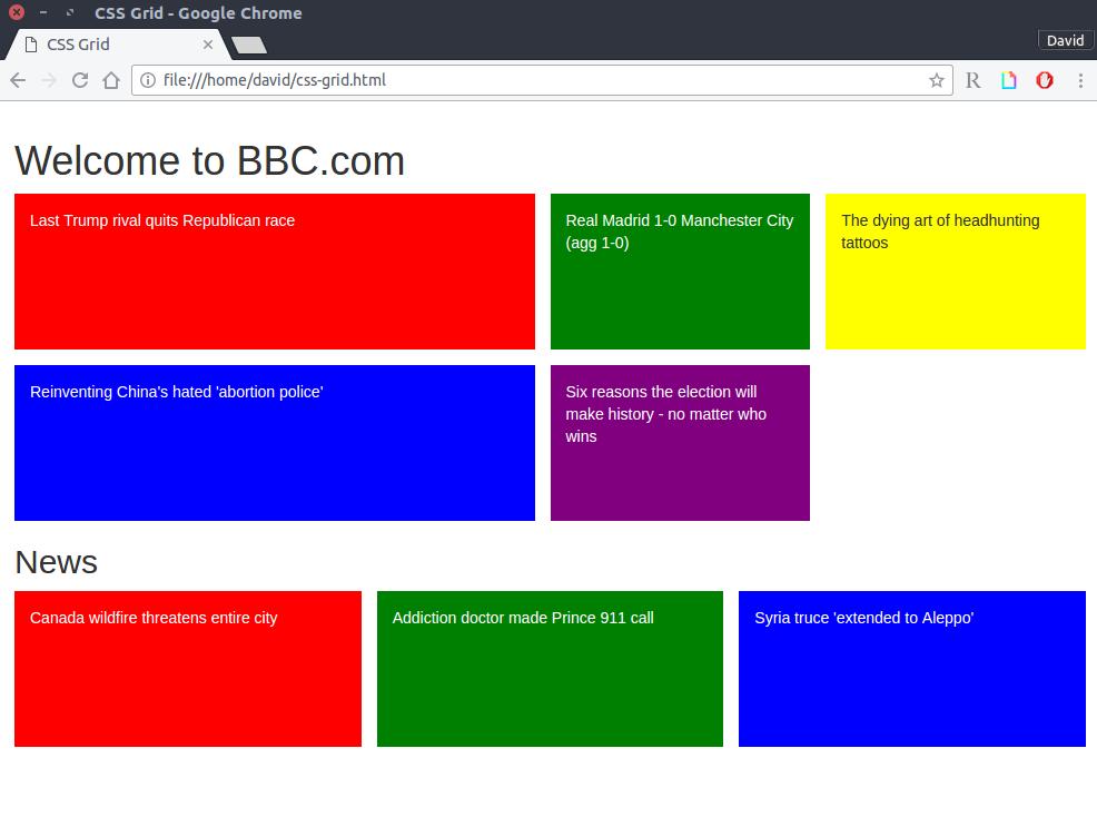 Página de la BBC maquetada con CSS Grid automáticamente