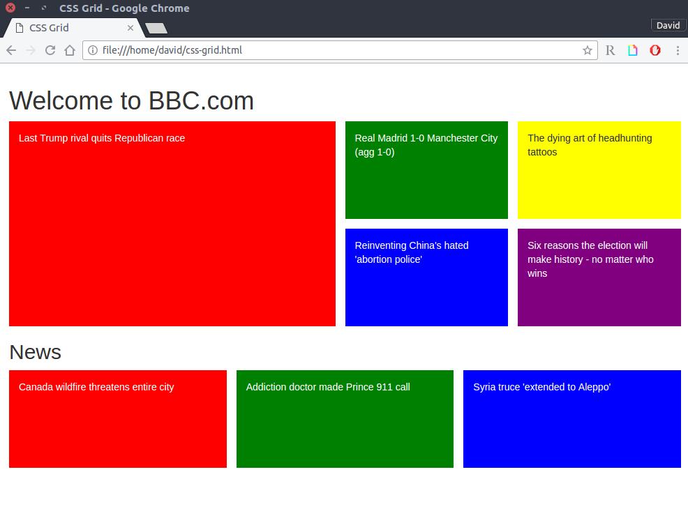 Página de la BBC maquetada con CSS Grid