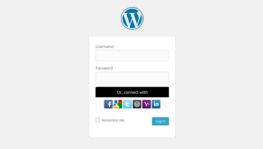 Formulario de login de WordPress con el plugin WordPress Social Login activo.