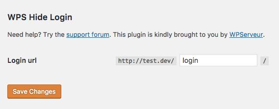 Configuración del plugin WPS Hide Login desde el menú Ajustes > Generales de WordPress.