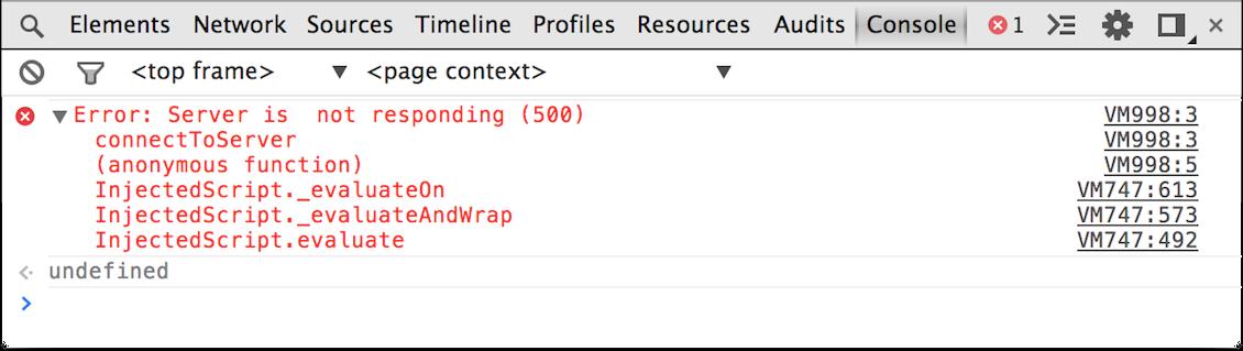 Consola de desarrollador en Google Chrome donde puedes ver errores JavaScript.
