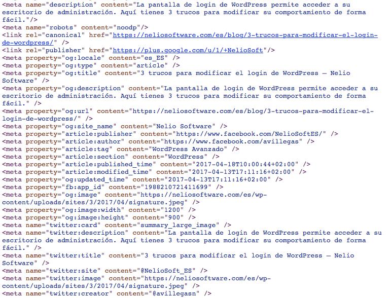 Fragmento del código HTMLde una entrada mostrando las meta etiquetas Open Graph.