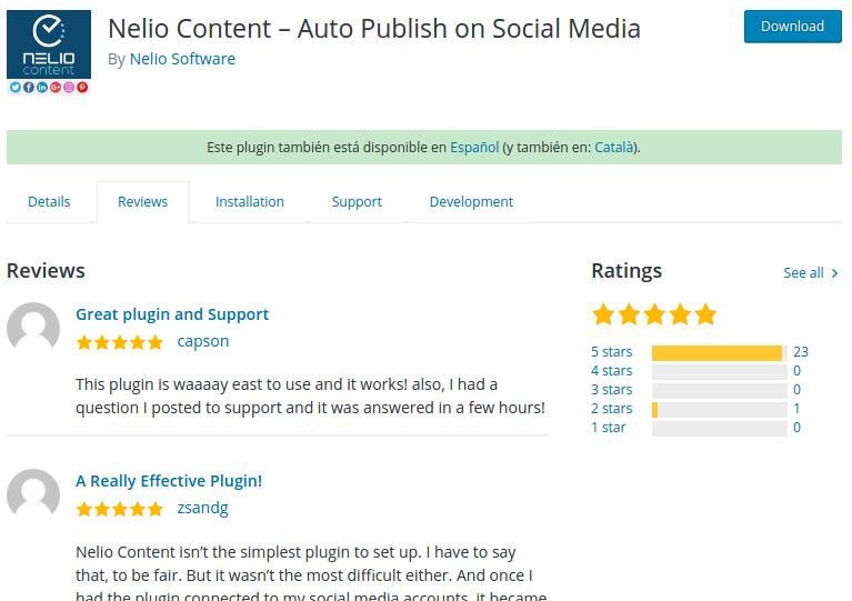 Opiniones sobre Nelio Content en WordPress.org.