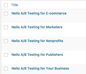 Listado de entradas en Nelio A:B Testing