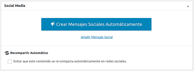 Nuevo botón para crear mensajes sociales automáticamente