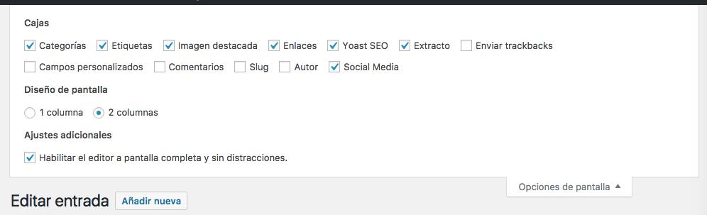 Opciones de pantalla con plugins