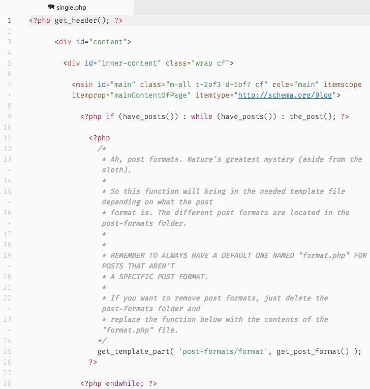 Fragmento de código de la plantilla single.php de Bones, donde puedes ver que está preparado para post formats.