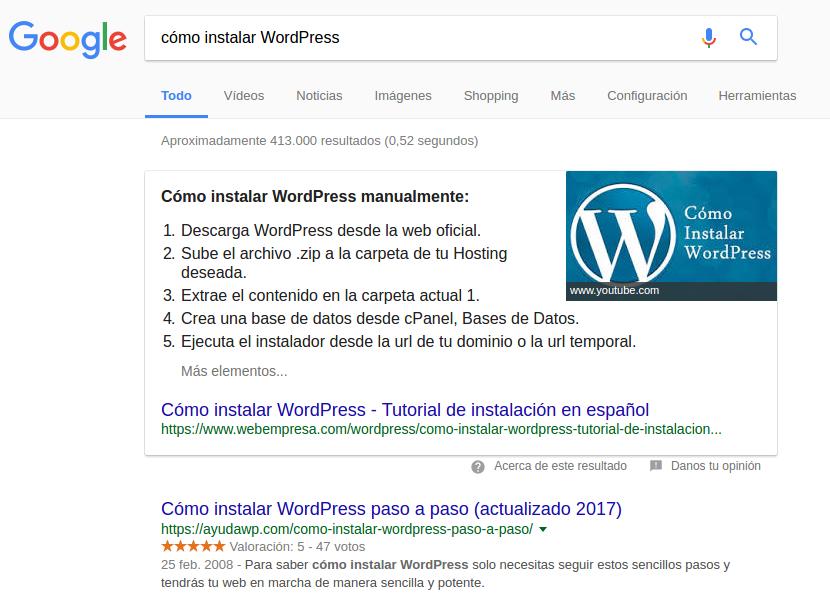 Búsqueda en Google sobre cómo instalar WordPress