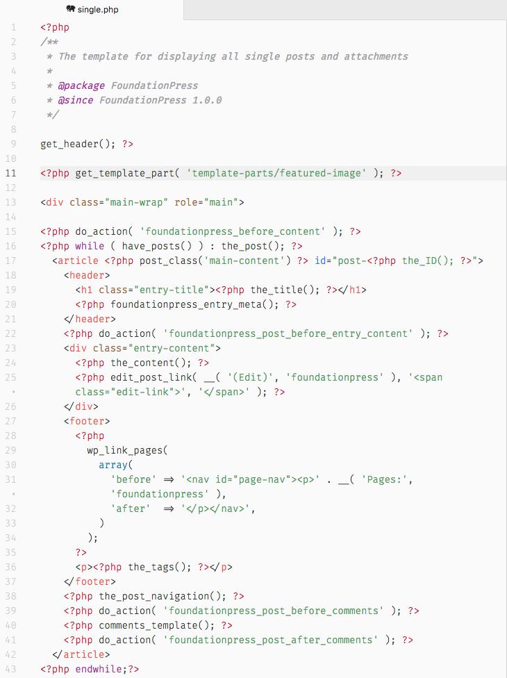 FoundationPress incluye sus propios hooks en los archivos PHP, como puedes ver por ejemplo en single.php.