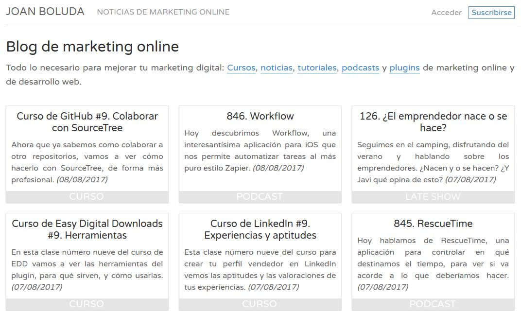 Captura de pantalla del blog de Joan Boluda
