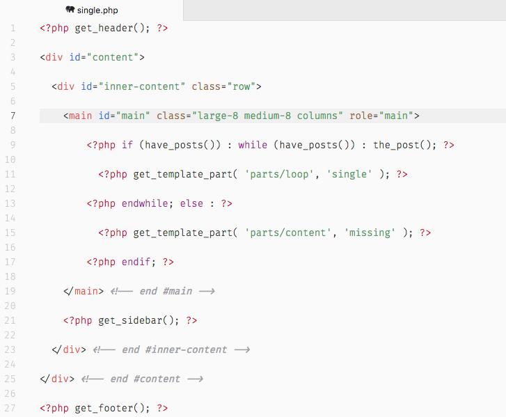 JointsWP incluye las clases CSS típicas de Foundation, como puedes ver en single.php.