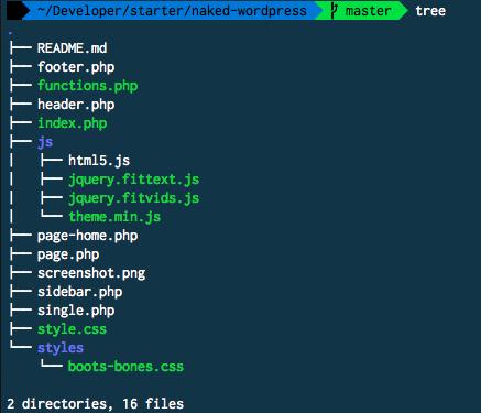 Estructura de archivos del tema starter Naked para WordPress.