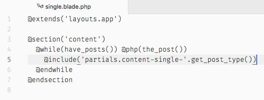 Plantilla para single.php en Sage utilizando la sintaxis de Blade.