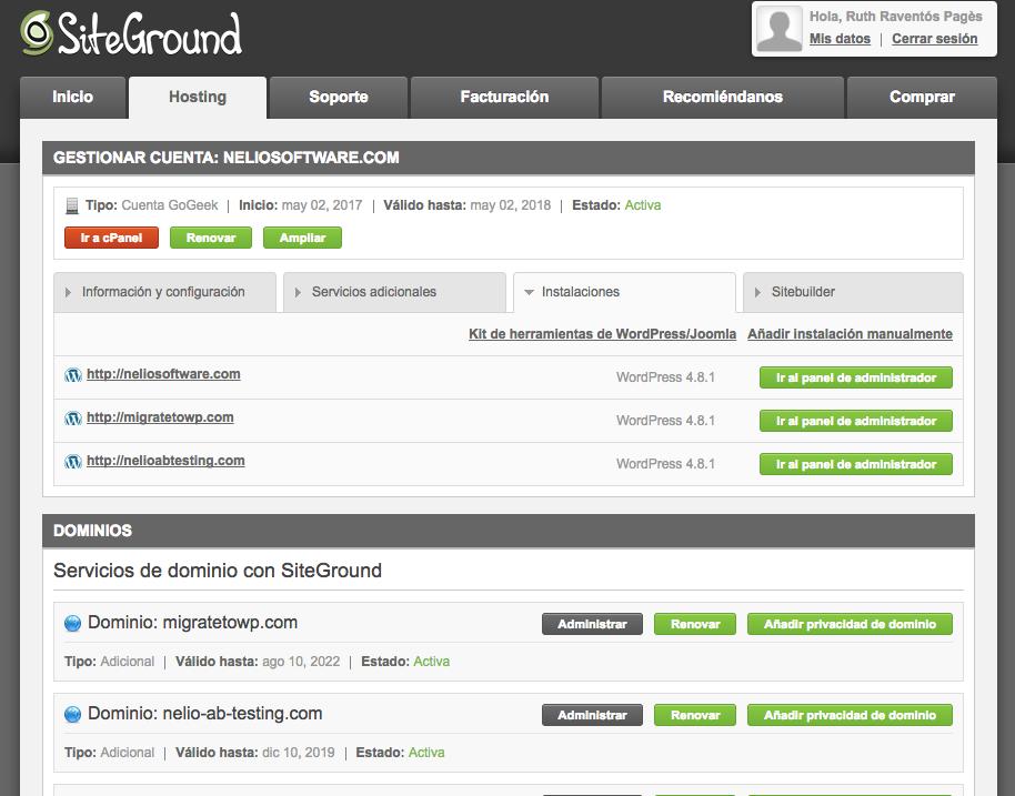 Panel de usuario de SiteGround. A mi parecer, más complejo que WPEngine, pero con más funciones para usuarios avanzados.