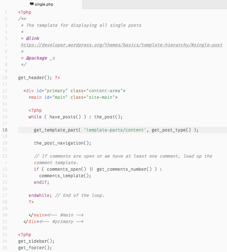 Aquí puedes ver el single.php de Underscores (_s).