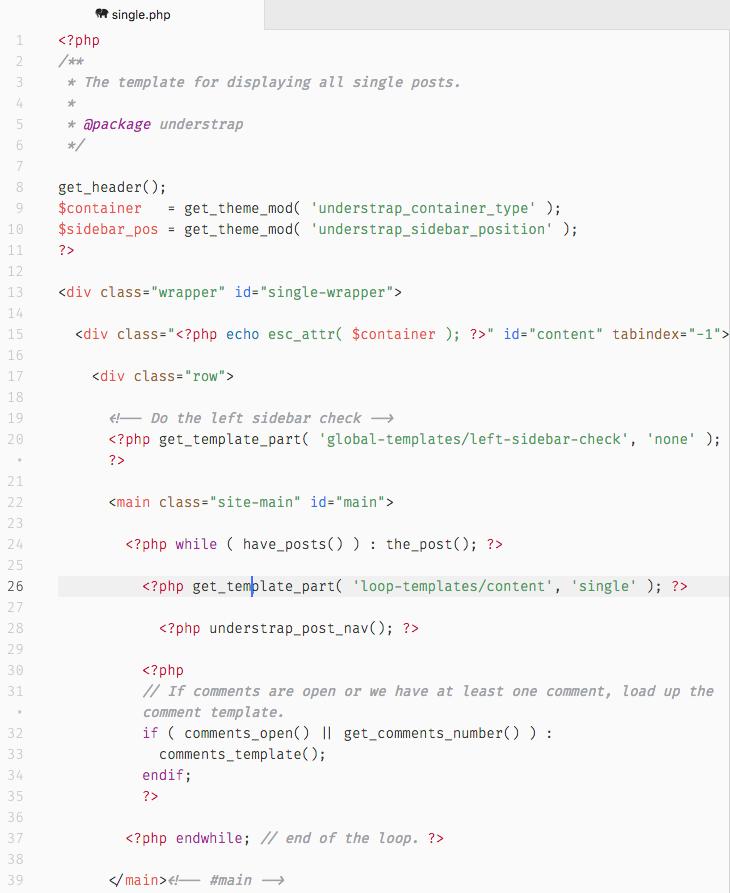 Como puedes ver, el single.php de UnderStrap es bastante más complejo que el de Underscores.
